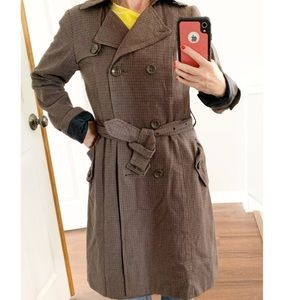 H&M brown houndstooth check belted trench coat